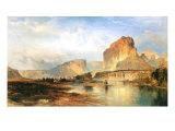Cliffs of Green River Premium Giclée-tryk af Thomas Moran