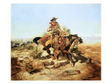 Riding Line Premium Giclée-tryk af Charles Marion Russell