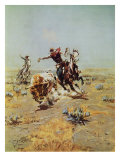 Cowboy Roping A Steer Premium Giclée-tryk af Charles Marion Russell