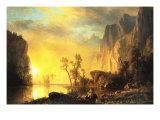 Coucher de soleil dans les Rocheuses Reproduction giclée Premium par Albert Bierstadt