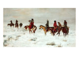 Lost in a Snowstorm-We are Friends Premium Giclée-tryk af Charles Marion Russell