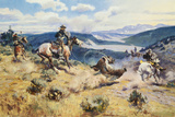 Loops and Swift Horses are Surer than Lead Premium Giclée-tryk af Charles Marion Russell