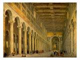 Interior of the Church of San Paolo Fuori Le Mura, Rome 1750 Reproduction giclée Premium par Giovanni Paolo Pannini
