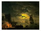 Entrance to the Port of Palermo by Moonlight, 1769 Giclée-Premiumdruck von Claude Joseph Vernet