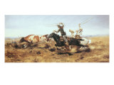 O.H. Cowboys Roping a Steer Premium Giclée-tryk af Charles Marion Russell