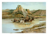 Return of the Horse Thieves Premium Giclée-tryk af Charles Marion Russell