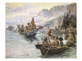 Lewis and Clark on the Lower Columbia Premium Giclée-tryk af Charles Marion Russell