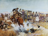 Bronc to Breakfast Premium Giclée-tryk af Charles Marion Russell