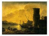 Bay at Sunset, 1549 Premium Giclée-tryk af Salvator Rosa