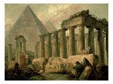 Pyramid and Temples Reproduction giclée Premium par Hubert Robert
