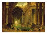 Vue Imaginaire de la Grande Galerie en Ruins Reproduction giclée Premium par Hubert Robert