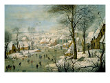 A Winter Landscape with Skaters and a Bird Trap Premium Giclee-trykk av Pieter Brueghel the Younger