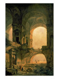 Vaulted Arches Ruin Premium Giclee Print by Hubert Robert