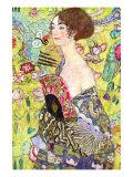 Dame med vifte Kunst af Gustav Klimt