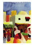 Market In Algiers Kunstdrucke von Auguste Macke