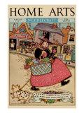 Cartoon Character Walks Thru an Old Town Carrying a Basket of Produce Arte
