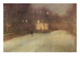 Nocturne In Gray and Gold, Snow In Chelsea Plakater af James Abbott McNeill Whistler
