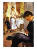 Breakfast At Berneval Print by Pierre-Auguste Renoir