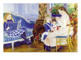 Children In The Afternoon In Wargemont Prints by Pierre-Auguste Renoir