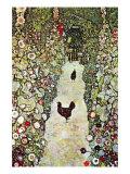Garden Path with Chickens Poster von Gustav Klimt