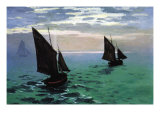 Le Havre - Exit The Fishing Boats From The Port Posters por Claude Monet