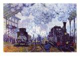 Saint Lazare Station In Paris, Arrival of a Train Poster von Claude Monet