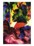 Couple At The Garden Table Kunstdruck von Auguste Macke