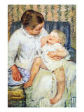 Mother Washing The Tired Child Poster by Mary Cassatt