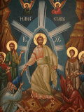 Greek Orthodox Icon of Christ's Resurrection, Thessalonica, Macedonia, Greece, Europe Premium Photographic Print by  Godong