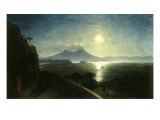 View of the Bay of Naples with the Castel del'Ovo as seen from Posillipo, 1892 Giclée-tryk af Ivan Konstantinovich Aivazovsky