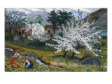 Apple Trees in Bloom Gicléetryck av Nikolai Astrup