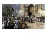 Market Scene by a Mosque Gicléedruk van Edwin Lord Weeks