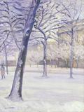 Parc sous la Neige, Paris, c.1888 Lámina giclée por Gustave Caillebotte