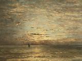 A Seascape at Sunset Lámina giclée por Hendrik Willem Mesdag
