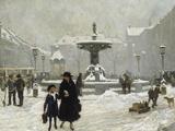 A Winter Day in Gammeltorv, Copenhagen, 1917 Gicléetryck av Paul Gustav Fischer