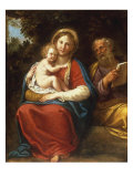 The Holy Family Giclée-tryk af Francesco Albani