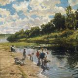 Washing at the River Bank, 1922 Giclée-tryk af Vladimir Egorovic Makovsky