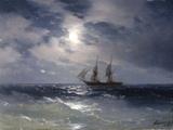 Sailing ship in the moonlight on a calm sea, 1874 ジクレープリント : イワン・コンスタンチノビッチ・アイワゾフスキー