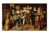 Merry Company in an Interior Lámina giclée por Dirck Hals