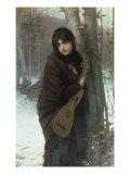 A Gypsy Girl with a Mandora Gicléedruk van Jules Joseph Lefebvre