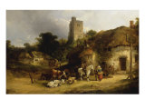 Villagers with their Animals outside the Plough Inn Giclee Print by William Shayer