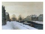 Along the Canal in Winter Giclee Print by Johannes Karel Christian Klinkenberg