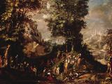 St John the Baptist Preaching to the Multitude Lámina giclée por Abraham Bloemaert