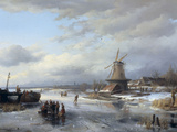 Frozen Winter Landscape with Figures, 1846 Giclee-trykk av Anthonie Braakman