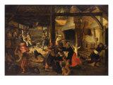 Bandits Attacking a Peasant Family in an Interior Giclée-Druck von Sebastian Vrancx