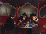 Playing Backgammon Reproduction procédé giclée par Jean Béraud