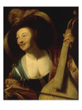 A Young Woman Playing the Viol Giclée-Druck von Gerrit Honthorst