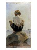 A Boy Crouching on a Rock Giclée-tryk af Albert Edelfelt