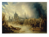 View of St Paul's from the Thames Reproduction procédé giclée par John Gendall