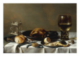 A Banketje Still Life with a Roemer, a Mounted Salt-Cellar, Pewter Plates with a Roast Chicken Reproduction procédé giclée par Pieter Claesz